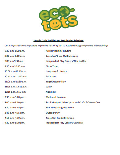 daily toddler preschooler schedule