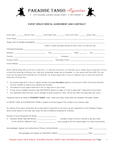dance event space rental agreement