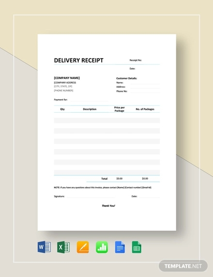 Free 7 Delivery Receipt Examples Samples In Google Docs