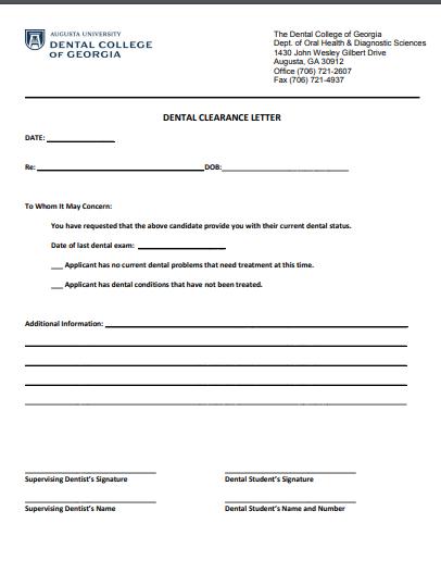 dental clearance letter