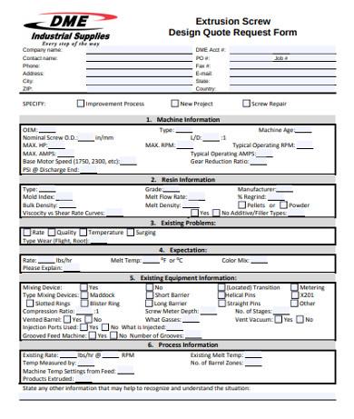 design quote request form