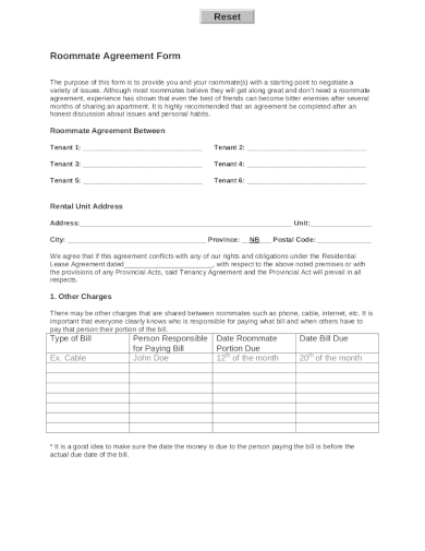 detailed roommate agreement form