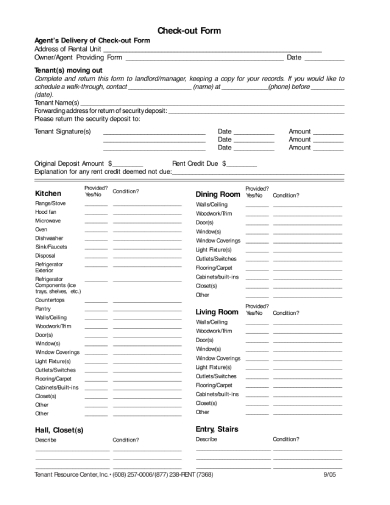 detailed tenant check out form