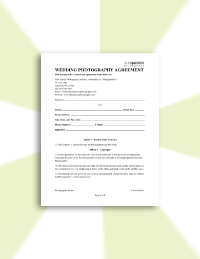 detailed wedding photography contract