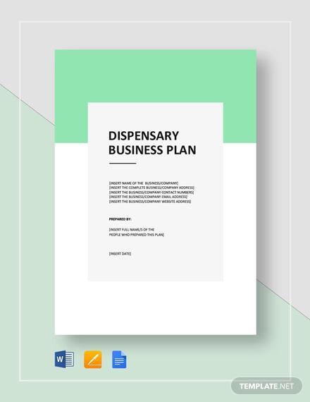 dispensary business plan template