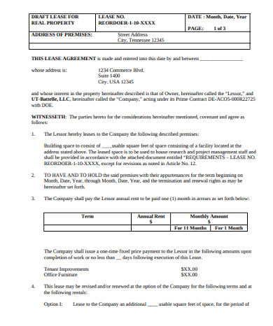 draft lease for real property agreement