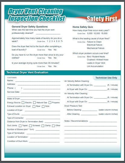 dryer vent cleaning inspection checklist