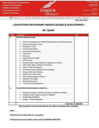 dynamic website design development quotation