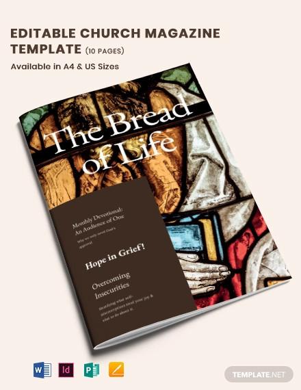 editable church magazine template