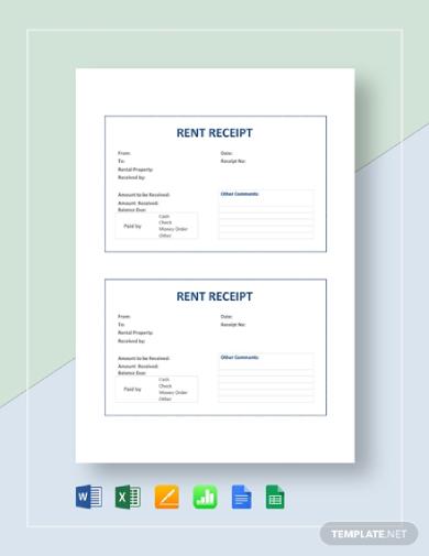 editable rent receipt