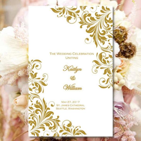 elegant church wedding program