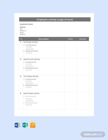 employee activity scope of work