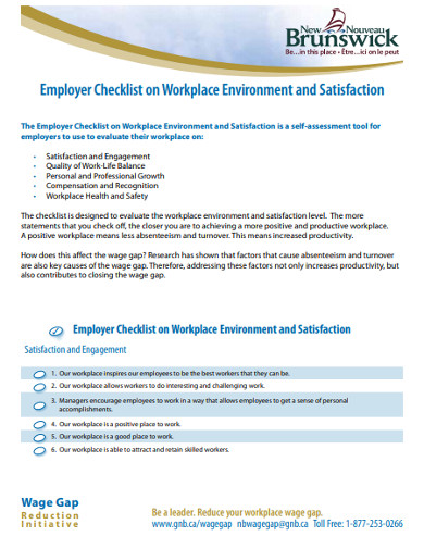 employer checklist on workplace environment satisfaction