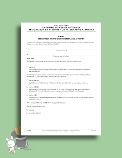 enduring power of attorney resignation letter