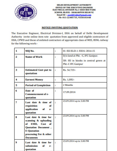 engineer notice inviting quotation