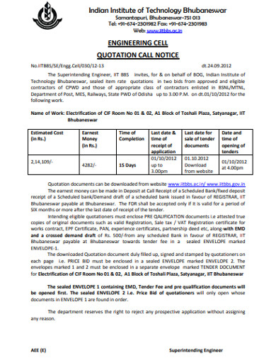 engineering cell quotation call notice
