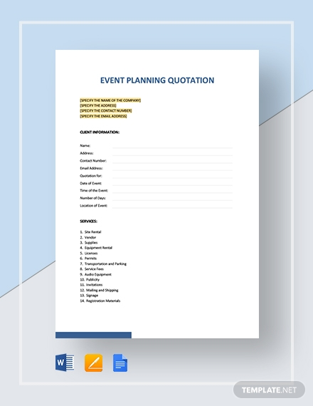 event planning quotation