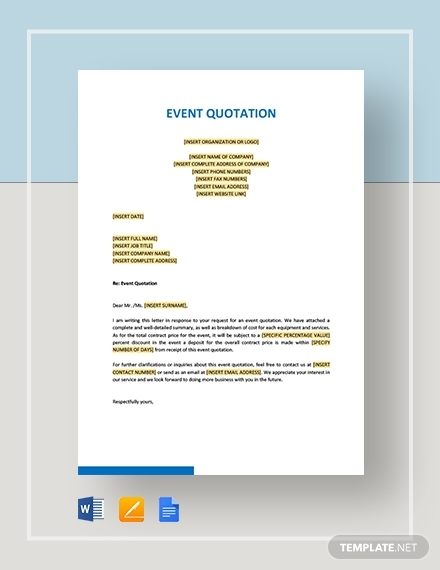 free 11  event quotation examples  u0026 templates  download