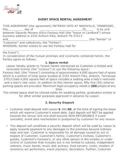 event space rental agreement