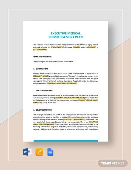 executive medical reimbursement plan template