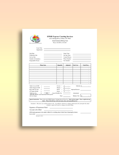 express catering service invoice