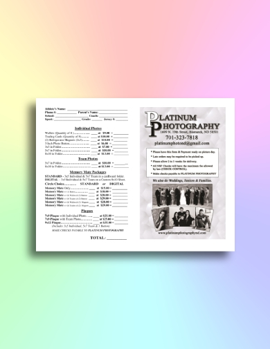 family photography order form