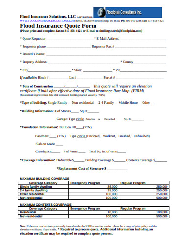 flood insurance quote form