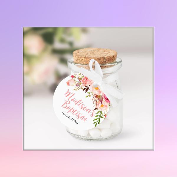floral baptism tag