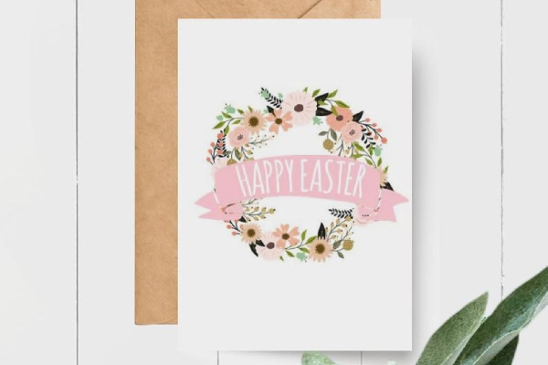 floral easter greeting card