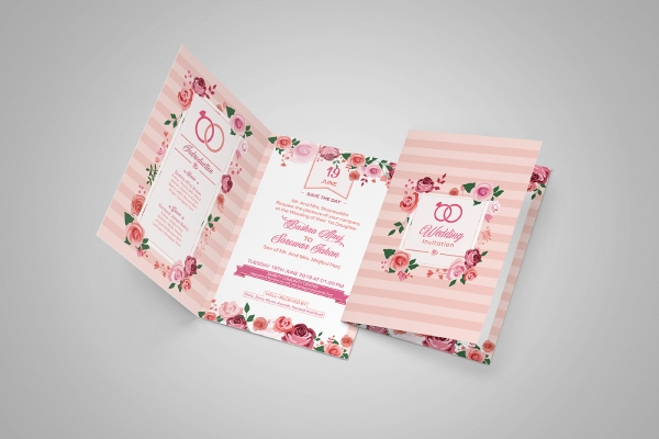 floral wedding greeting card