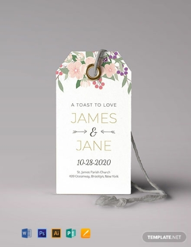 floral wedding tag