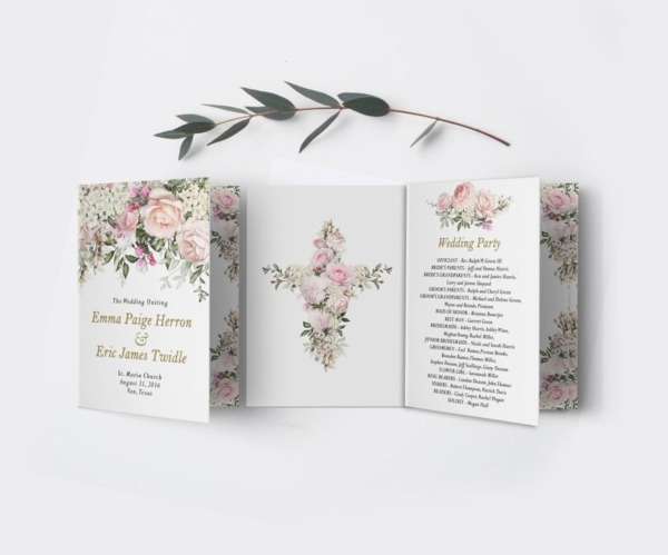 foldable catholic church wedding program