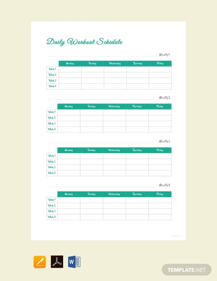 free daily workout schedule template