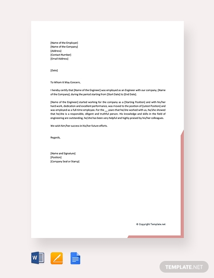 free engineering work experience letter