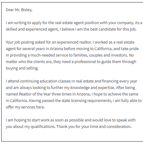 free real estate agent cover letter sample