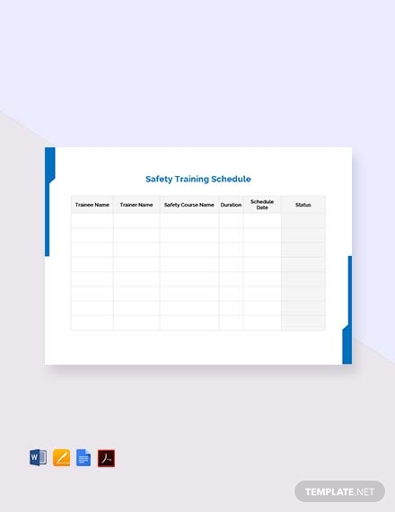 free safety training schedule