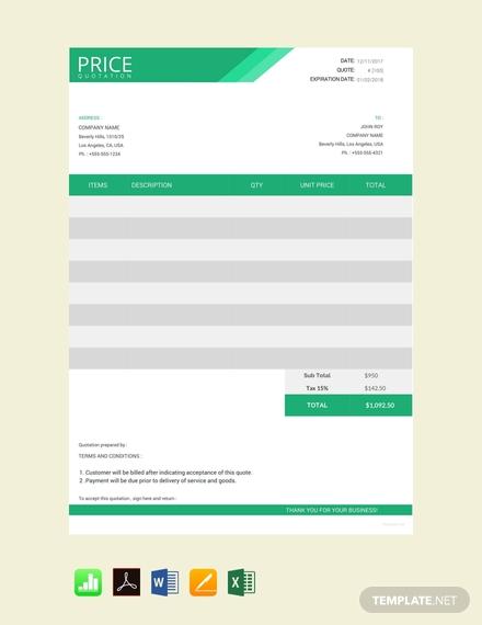 free web design quotation template