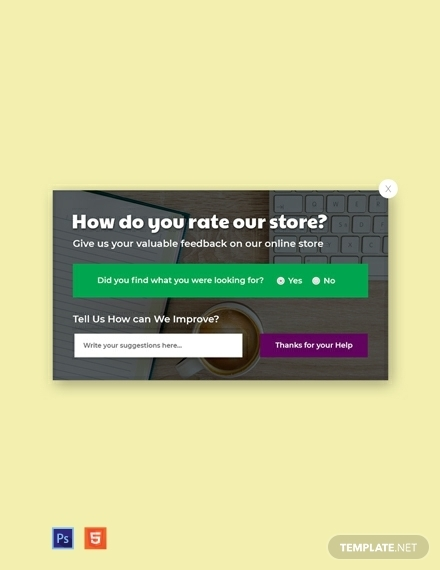 free website survey pop up template