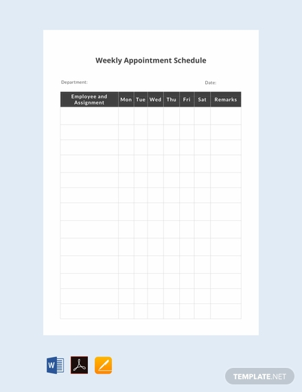 free weekly appointment schedule template