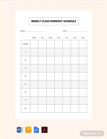 free weekly class workout schedule