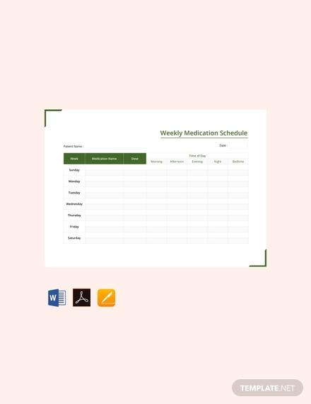 free weekly medication schedule template
