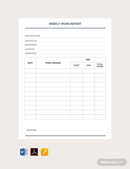 free weekly work report