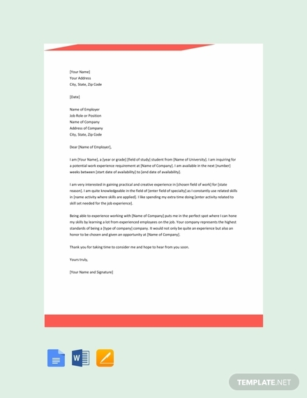 free work experience letter