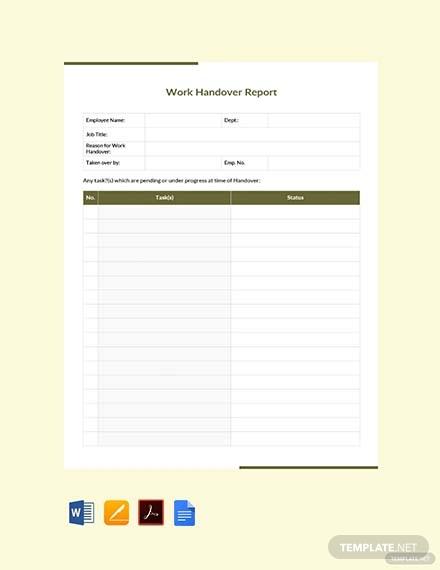 free work handover report template