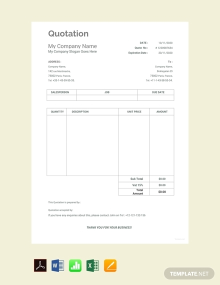 free work quotation template