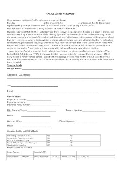 garage vehicle rental agreement