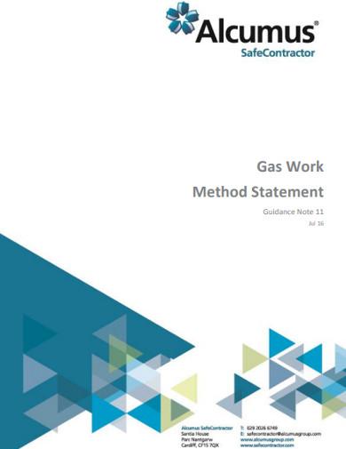 gas work method statement