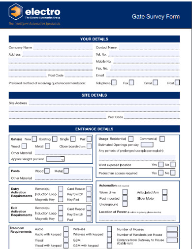 gate survey form