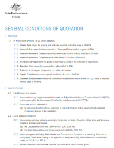 general condition quotation