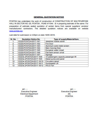 general quotation notice
